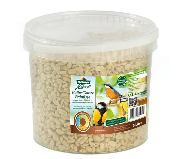 Dehner Natura Wildvogefutter halbe/ganze Erdnüsse, 5 l