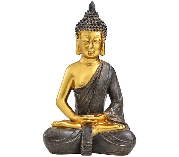 Dehner Polyresin-Buddha, gold, 25,5 x 18 x 39,5 cm