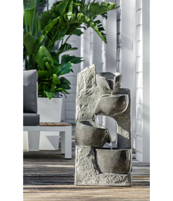 Dehner Polyresin-Gartenbrunnen Circ, 40 x 25 x 89 cm