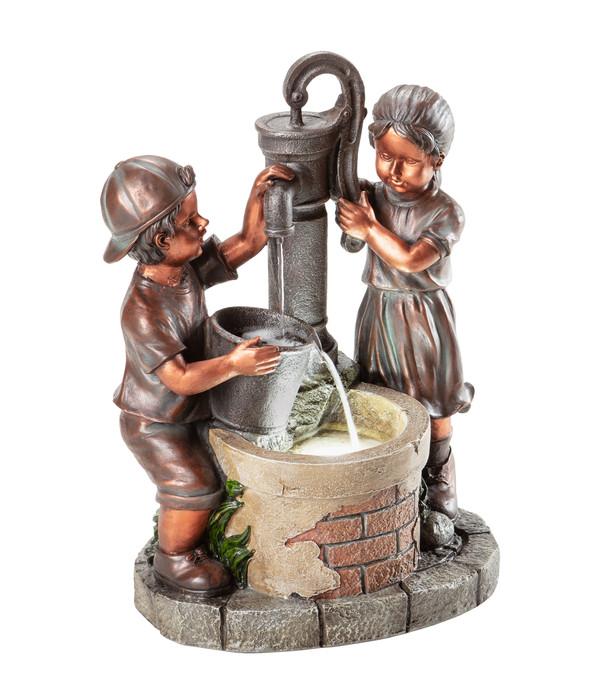 Dehner Polyresin-Gartenbrunnen Kim & Tim, ca. B45/H61,2/T29,4 cm