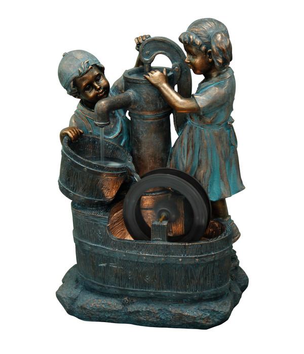 Dehner Polyresin-Gartenbrunnen Lea und Leon, ca. B45/H68,5/T35 cm
