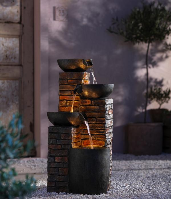 Dehner Polyresin-Gartenbrunnen Piatto, ca. B43/H89/T46 cm