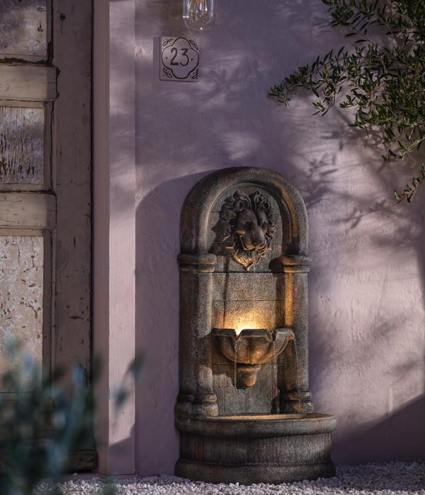 Dehner Polyresin-Wandbrunnen Faro, ca. B49,5/H103,5/T38 cm