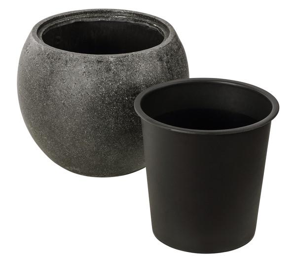Dehner Polystone-Topf, bauchig, grau