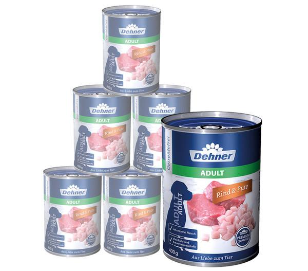 Dehner Premium Adult Rind & Pute, Nassfutter, 6 x 400g/800g