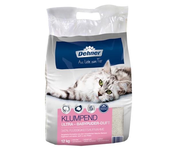 Dehner Premium Katzenstreu Ultra Babypuder-Duft, klumpend