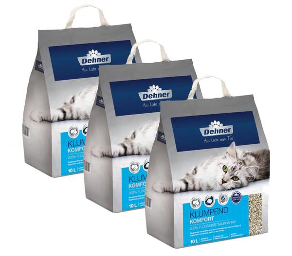 Dehner Premium Klumpend Komfort, Katzenstreu, 3 x 10 l