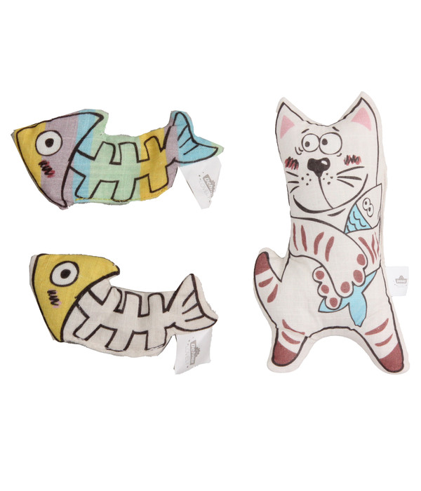 Dehner Premium Lovely Katzenspielzeug Set Fischgräten & Kätzchen