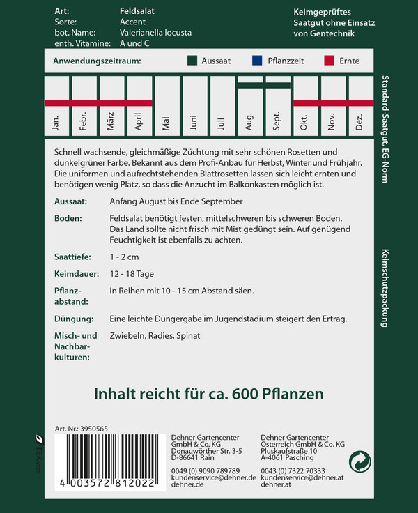 Dehner Premium Samen Feldsalat 'Accent'