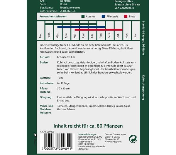 Dehner Premium Samen Kohlrabi 'Korist'