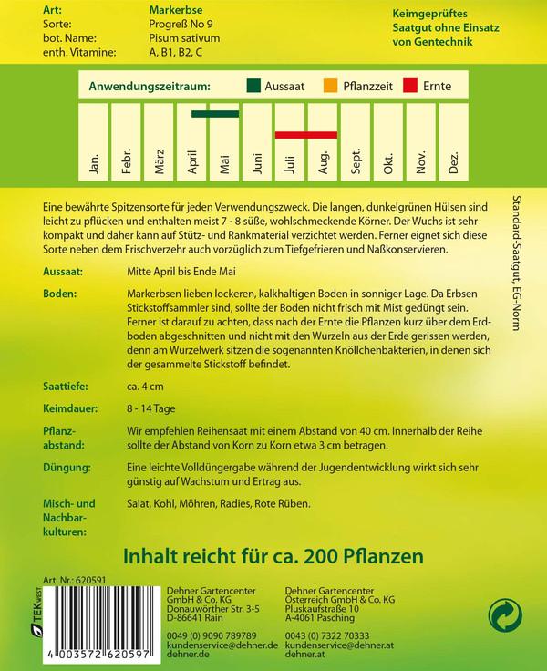 Dehner Samen Markerbse 'Progreß No 9'