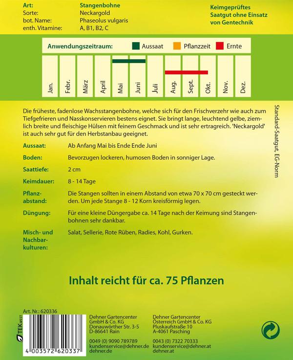 Dehner Samen Stangenbohnen 'Neckargold'