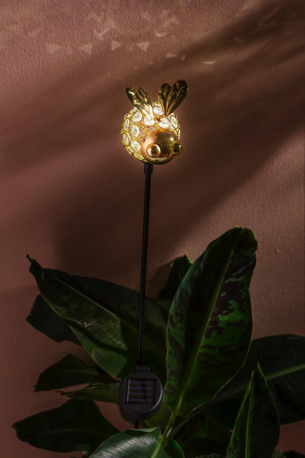 Dehner Solar-Dekostab Marienkäfer, ca. H120 cm, gold