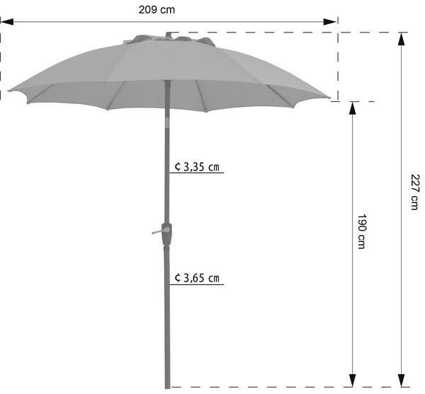 Dehner Sonnenschirm Kos, Ø 220 cm