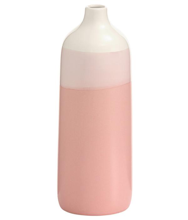 Dehner Steingut-Vase, weiß/rosa, Ø 10,3 x 27,7 cm