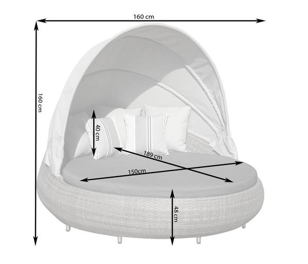 Dehner Sun-Lounger Florida, 220 x 160 x 159 cm