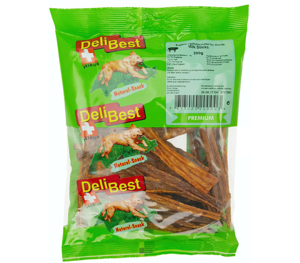 DeliBest Natural Milk-Sticks Rindereuter, Hundesnack, 200g