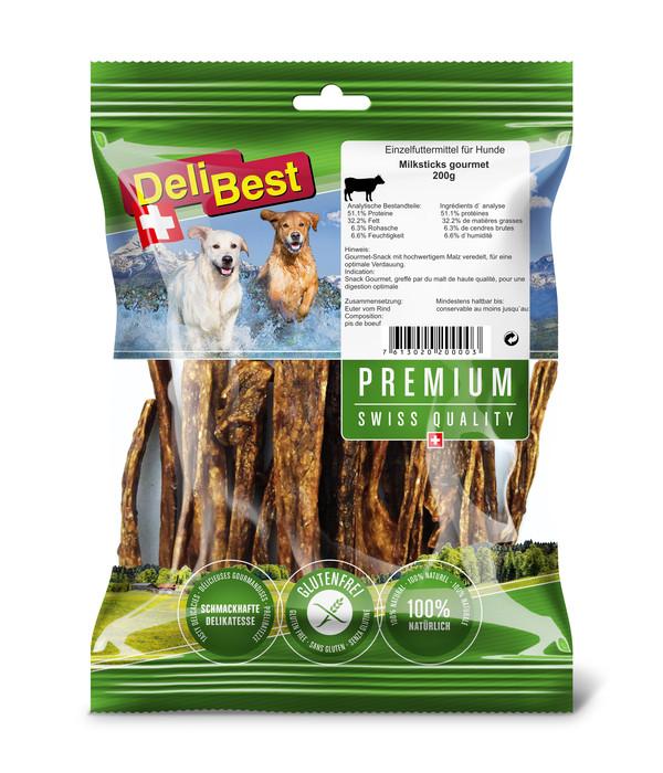 DeliBest Premium Hundesnack Milk-Sticks Rindereuter, 200g