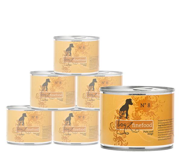 Dogz finefood No. 8 Pute & Ziege, Nassfutter, 6x200/400/800g