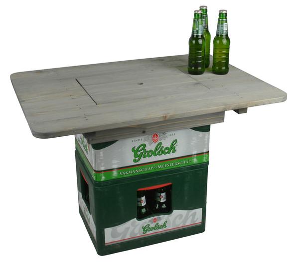 Esschert Holz-Bierkistentisch Aufsatz mit Deckel, 78 x 57 x 11 cm, grau-braun