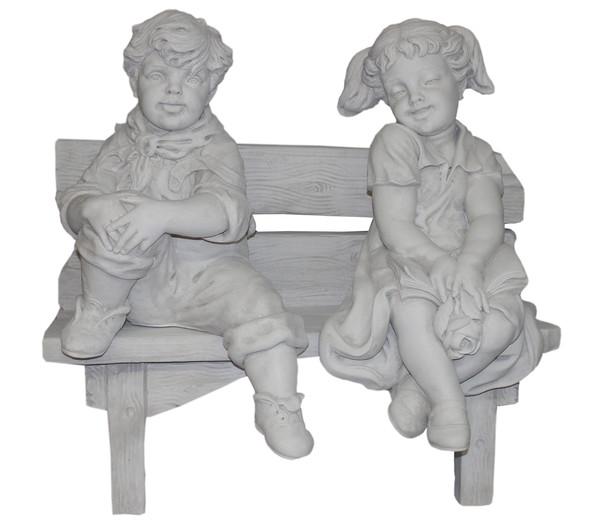 fantasieco Stein-Figur Peter und Monika auf Bank, 82 x 50 x 70 cm