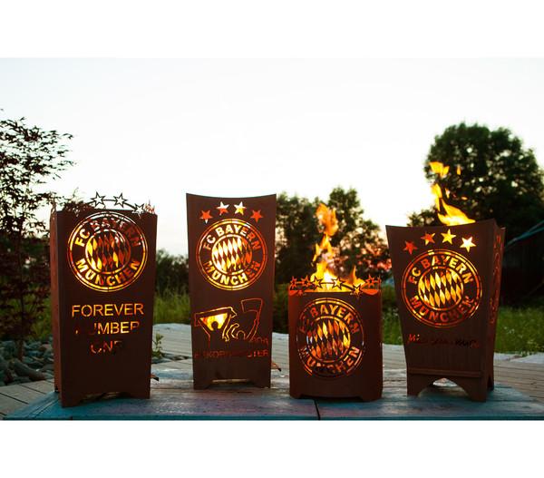 Ferrum FCB Feuerkorb Mia san Mia, eckig, 40 x 40 x 70 cm, rost