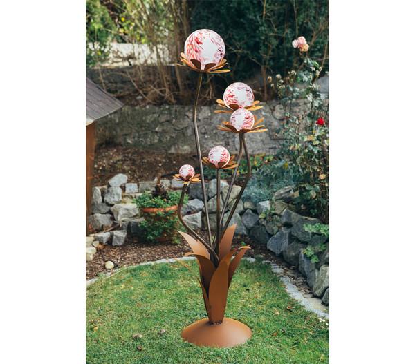 Ferrum Metall-Blumenzauber mit weißen Glaskugeln, Ø 40 x 165 cm, rost