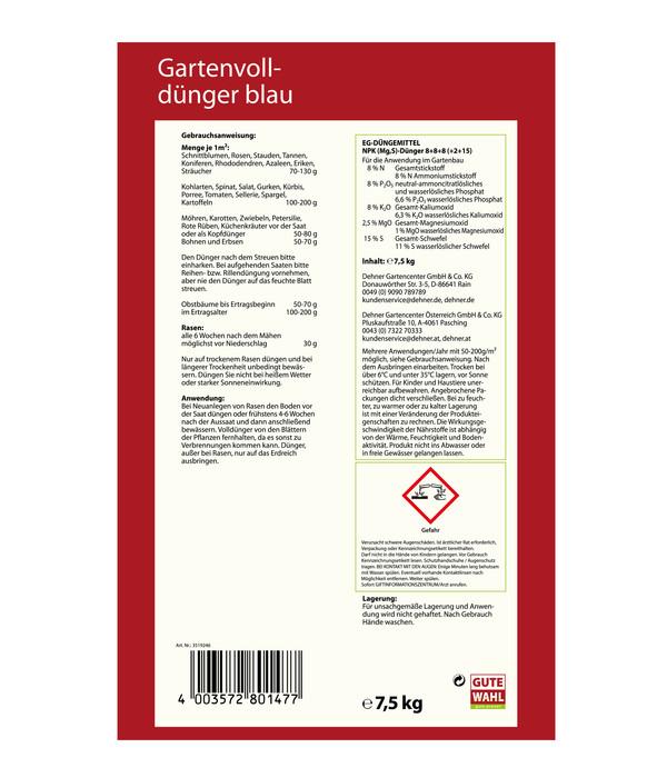 Gute Wahl Gartenvolldünger blau, 7,5 kg