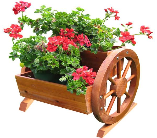 Habau Blumenkasten mit Wagenrad