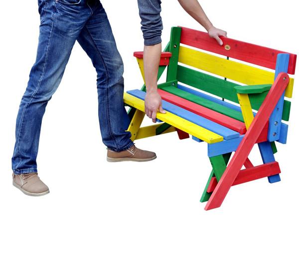 Habau Kinder Picknickbank bunt, 100 x 50 x 62 cm