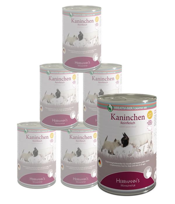 Herrmann's Ergänzungsfutter Kreativ-Mix Reinfleisch Kaninchen, 6 x 800 g
