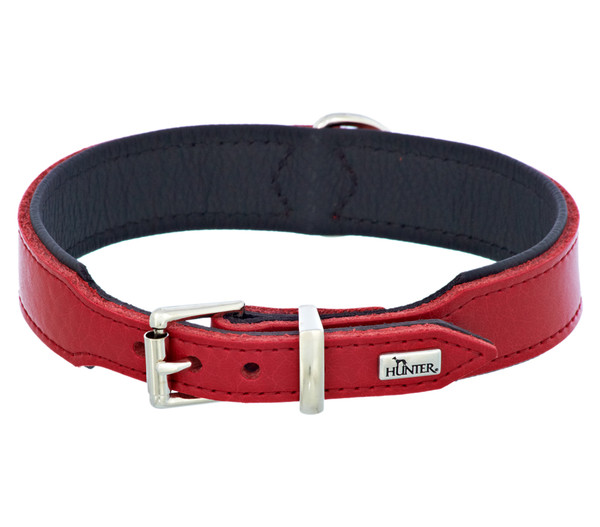HUNTER® Hundehalsband Basic, rot/schwarz