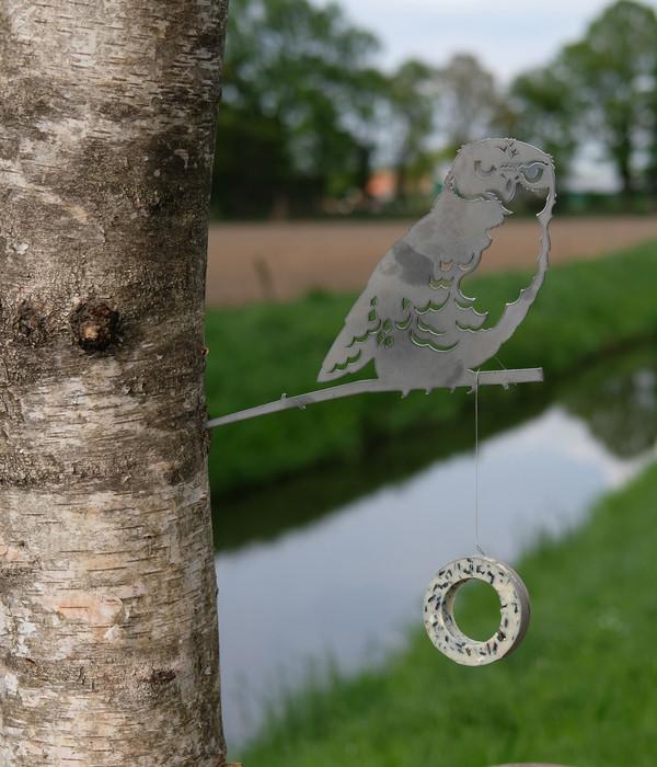 Illumino Stahl-Baumstecker Glücksvogel Eule, ca. B28,3/H21 cm, rost
