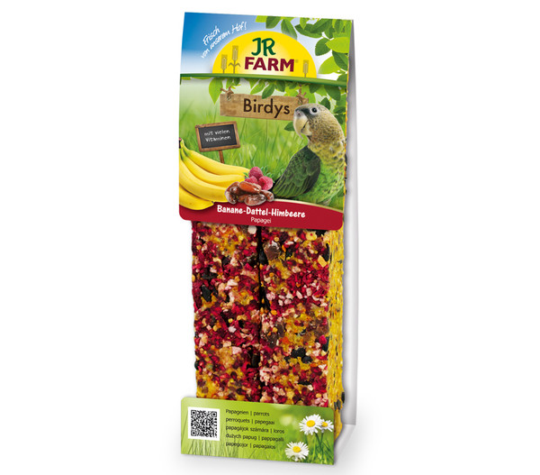 JR FARM Vogelsnack Birdys Banane-Dattel-Himbeer für Papageien