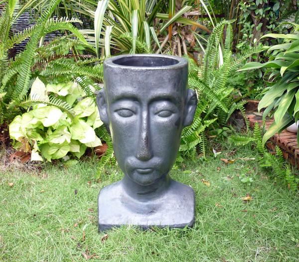Keramik Blumentopf Mit Gesicht Matt Schwarz 50 X 27 X 30 Cm Dehner