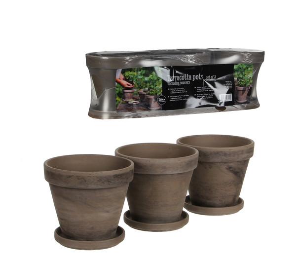 Keramik-Kräutertopf 3er Set mit Untersetzer, rechteckig, grau basalt, 40,5 x 13,5 x 12 cm