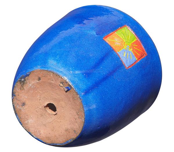 Keramik-Topf mit Sonnendekor, blau glasiert, rund