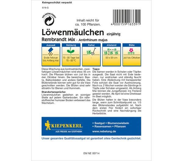 Kiepenkerl Samen Löwenmäulchen 'Rembrandt Mix'