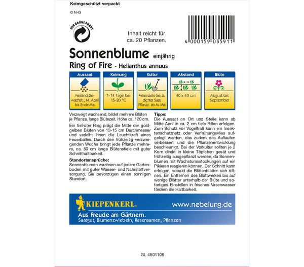 Kiepenkerl Samen Sonnenblume 'Ring of Fire'