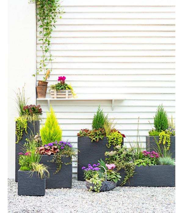 Kunststoff-Blumenkasten Kubus, 27 x 80 x 30 cm, anthrazit, rechteckig