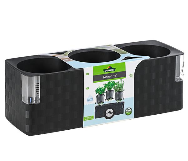 """Kunststoffkasten """"Mona Trio"""", mit Bewässerungssystem, 40 x 14 x 14 cm"""