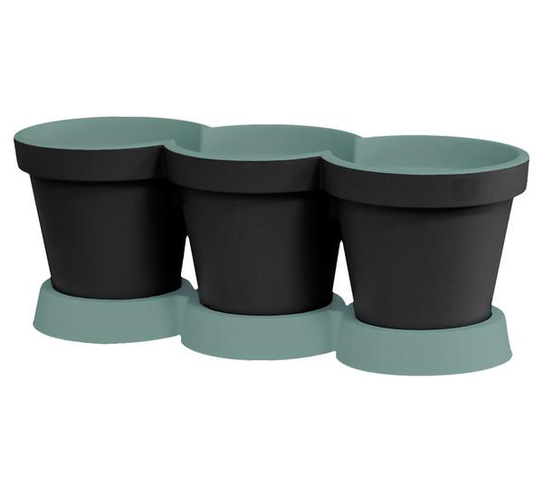 Kunststoff-Kräutertöpfe, anthrazit-grün