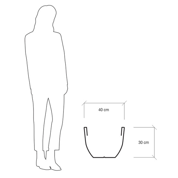 Kunststoff-Pflanzkübel Eos, ca. ø 40/H29 cm, dunkelanthrazit