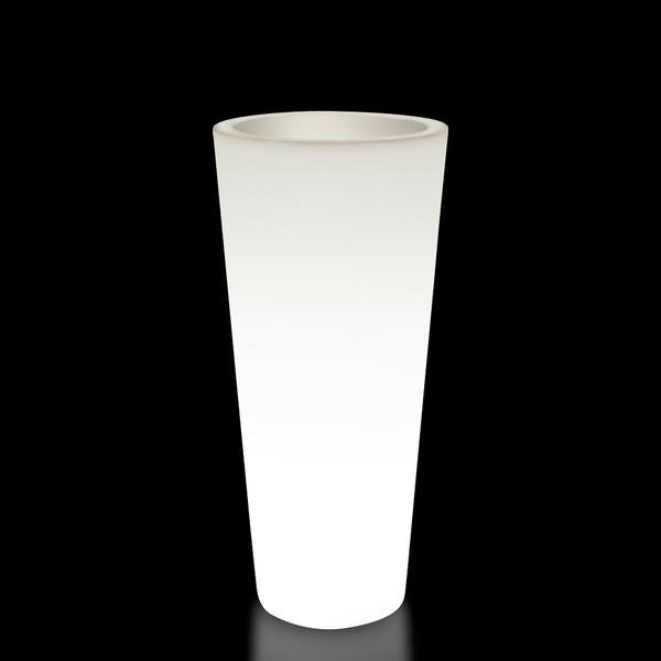 Kunststoff-Pflanzkübel Hydra, ca. ø 39/H85 cm, perlweiß beleuchtet
