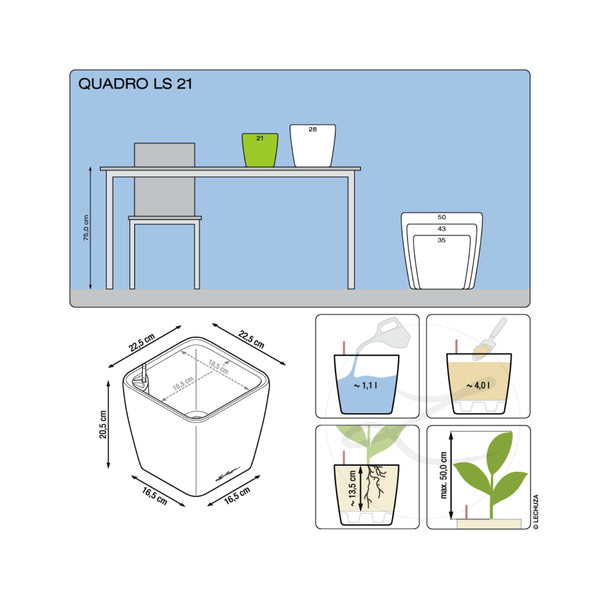 LECHUZA® Quadro LS, All-in-One-Set