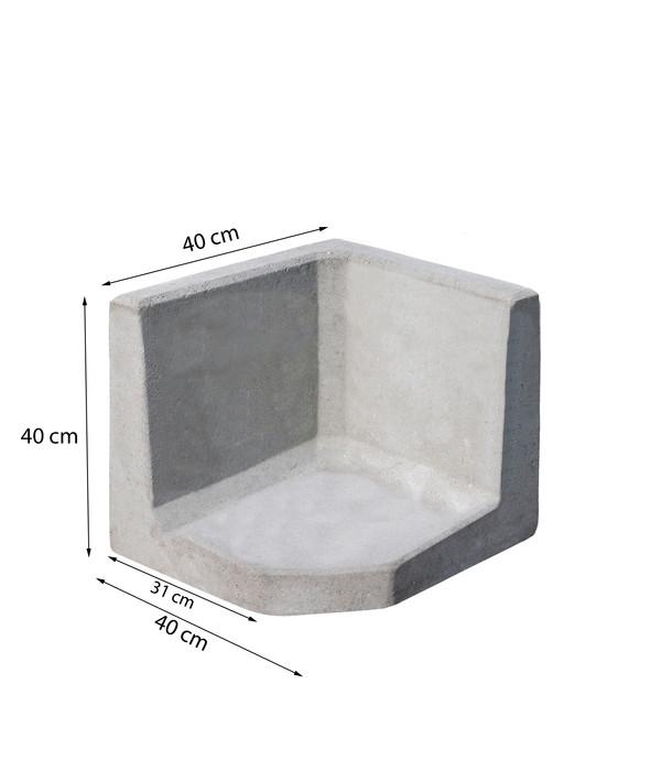 L-Eckstein, 40 x 40 cm, grau