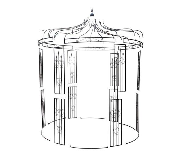 Metall-Pavillon Heart, rund, schwarz, 232 x 232 x 271 cm