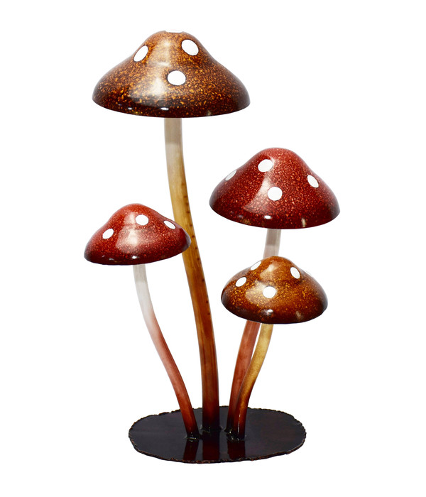 Metall-Pilze auf Platte, ca. B29/H44/T24 cm, rot