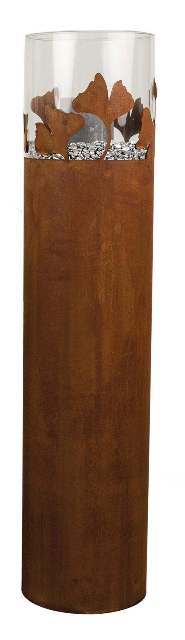 Metall-Säule Ginkgo mit Glaseinsatz, Ø25/H100 cm