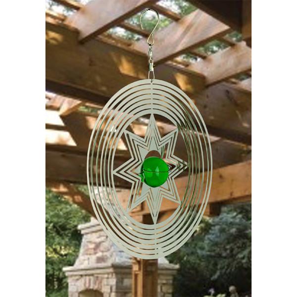 NATURE'S MELODY Windspiel Cosmo Sternstrahl, 18,5 x 4,5 x 32 cm, silber/grün